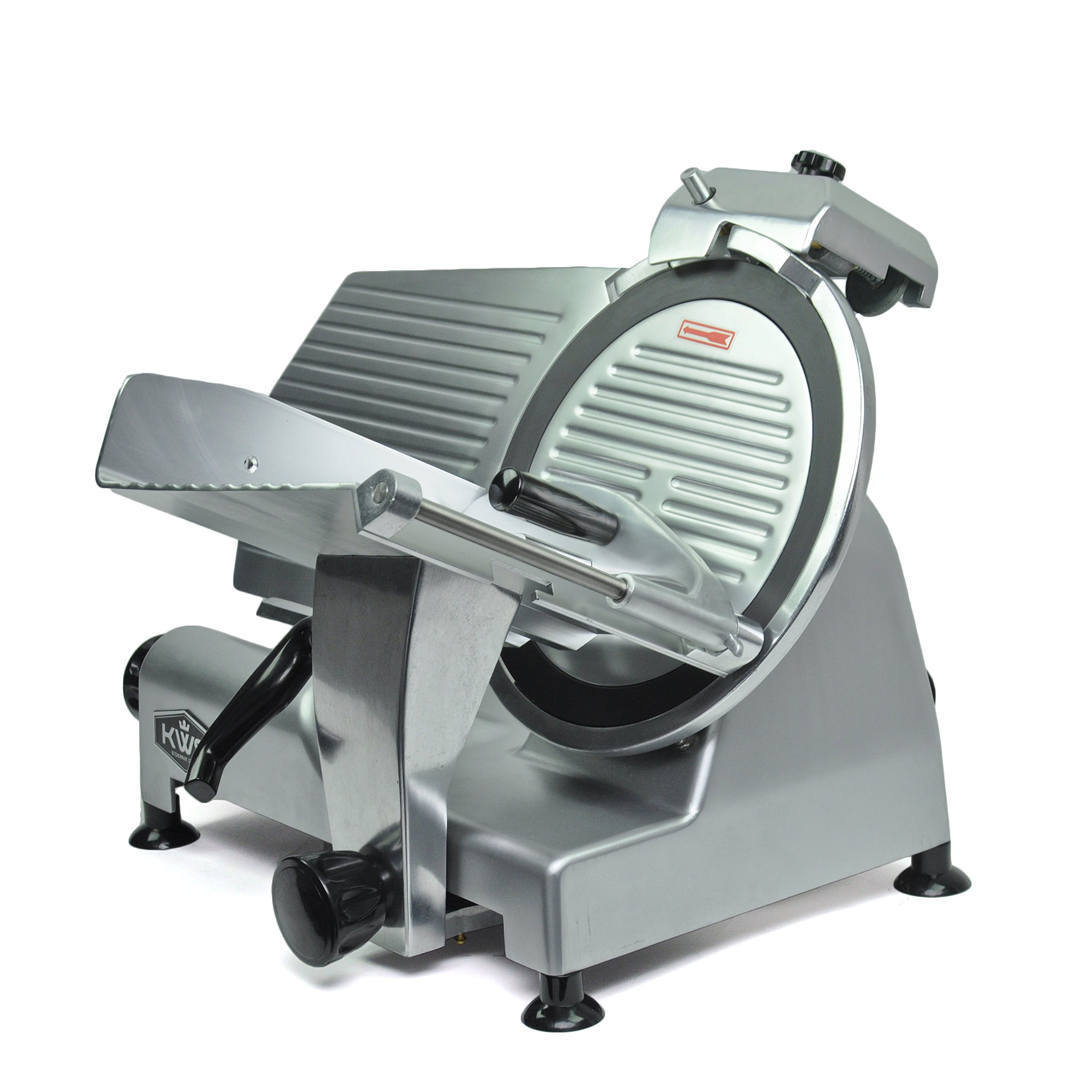 KWS Premium Commercial 420w Electric Meat Slicer 12'' Non-sticky Teflon Blade, Frozen Meat/ Cheese/ Food Slicer Low Noises