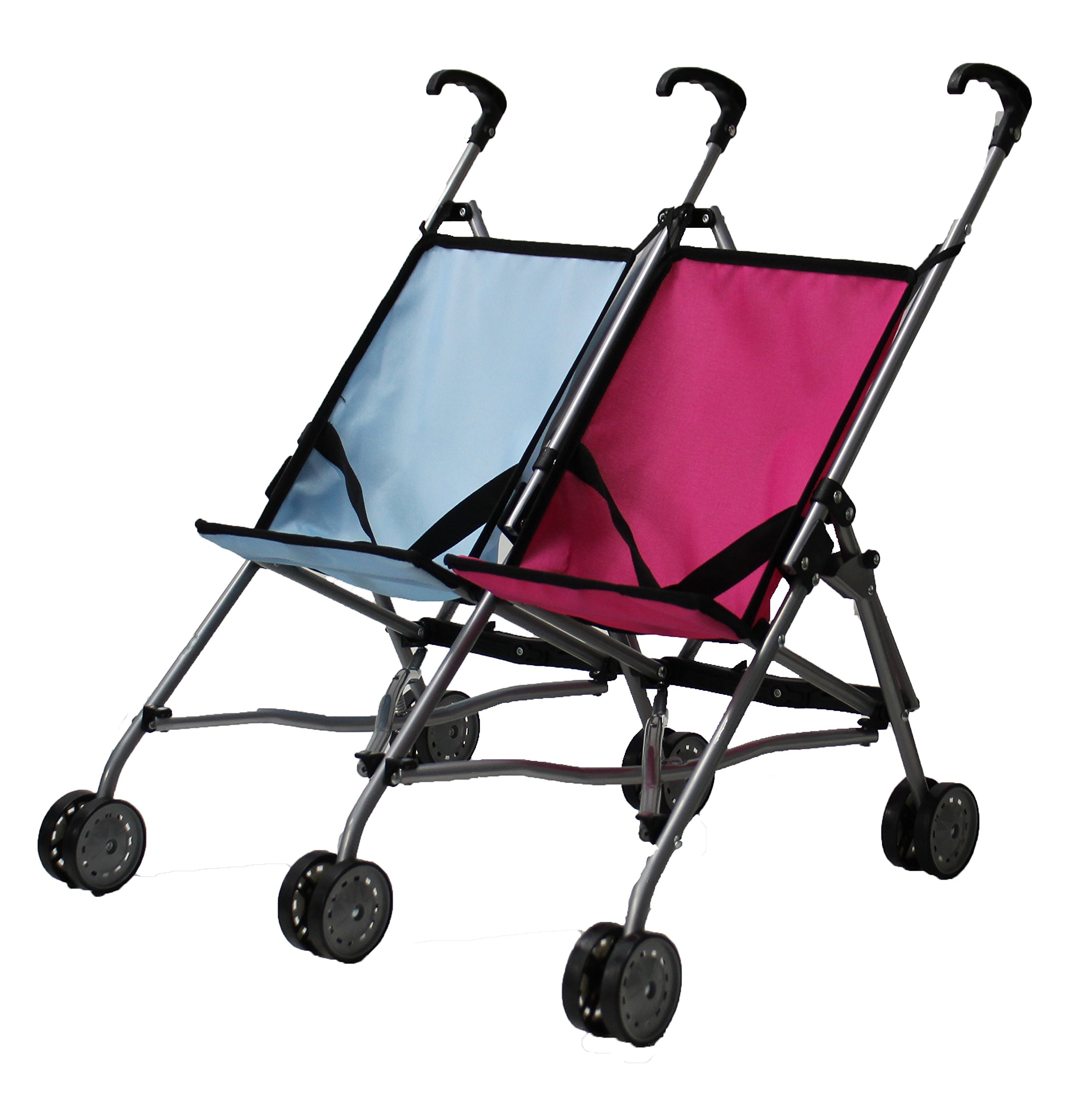 Mommy & Me Twin Doll Stroller for 1 Boy Doll and 1 Girl Doll