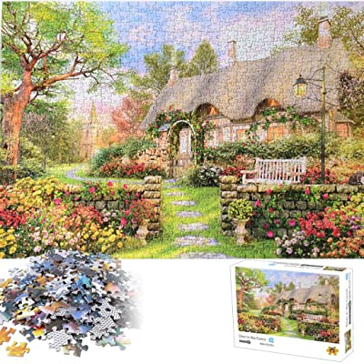 Jigsaw Puzzle Set 1000 Pieces - British Cottage, Beautiful Stress Relief Toys Puzzle Series for Adults & Kids: Toys & Games