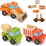 Melissa & Doug Stacking Construction Vehicles,Multi-colored
