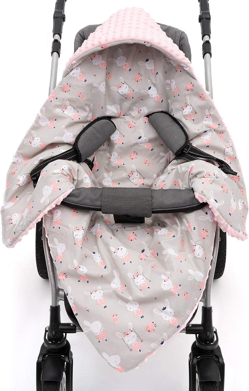 EliMeli Manta para asiento de bebé para silla de coche y cochecito con relleno Minky manta universal por ejemplo Maxi Cosi Ideal como manta para cochecito rosa Rosa - Conejo