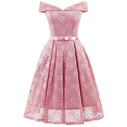 0d0efeb24c Vestido de dama Vestidos de las mujeres Street Chic Vestido de encaje de  una línea - Color ...