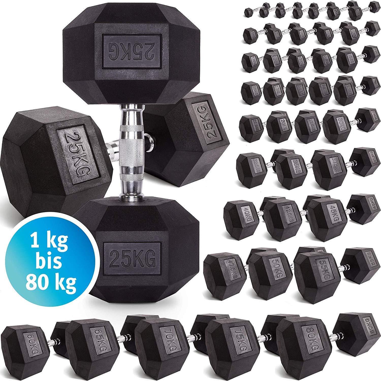 C.P. Sports Hexagon - Mancuerna de Goma 1 kg - 60 kg - con ...