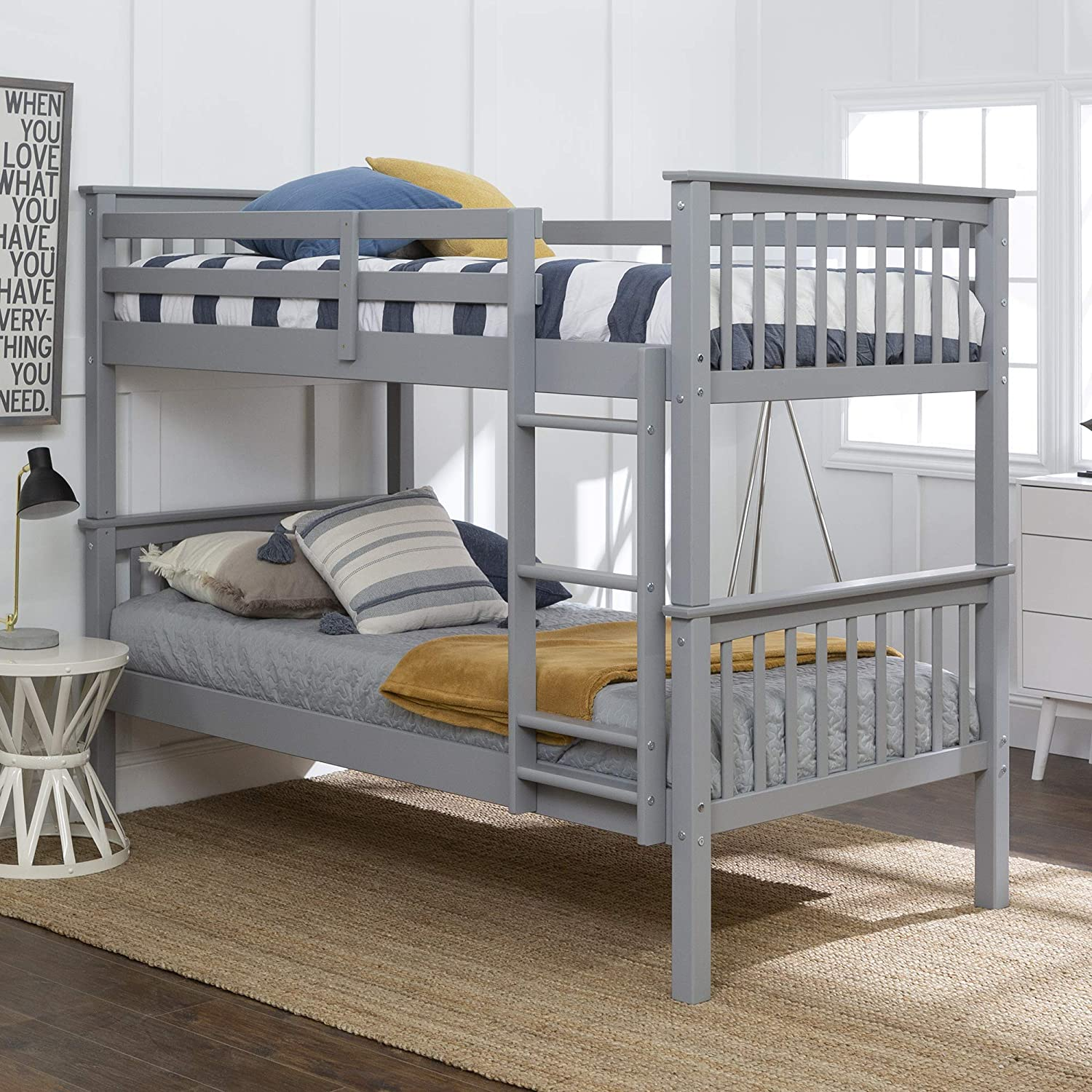 Amazon Com Walker Edison Wood Twin Over Twin Bunk Bed Kids Bed Bedroom With Guard Rail And Ladder Easy Assembly Twin Grey Model Azwtotmsgy Furniture Decor