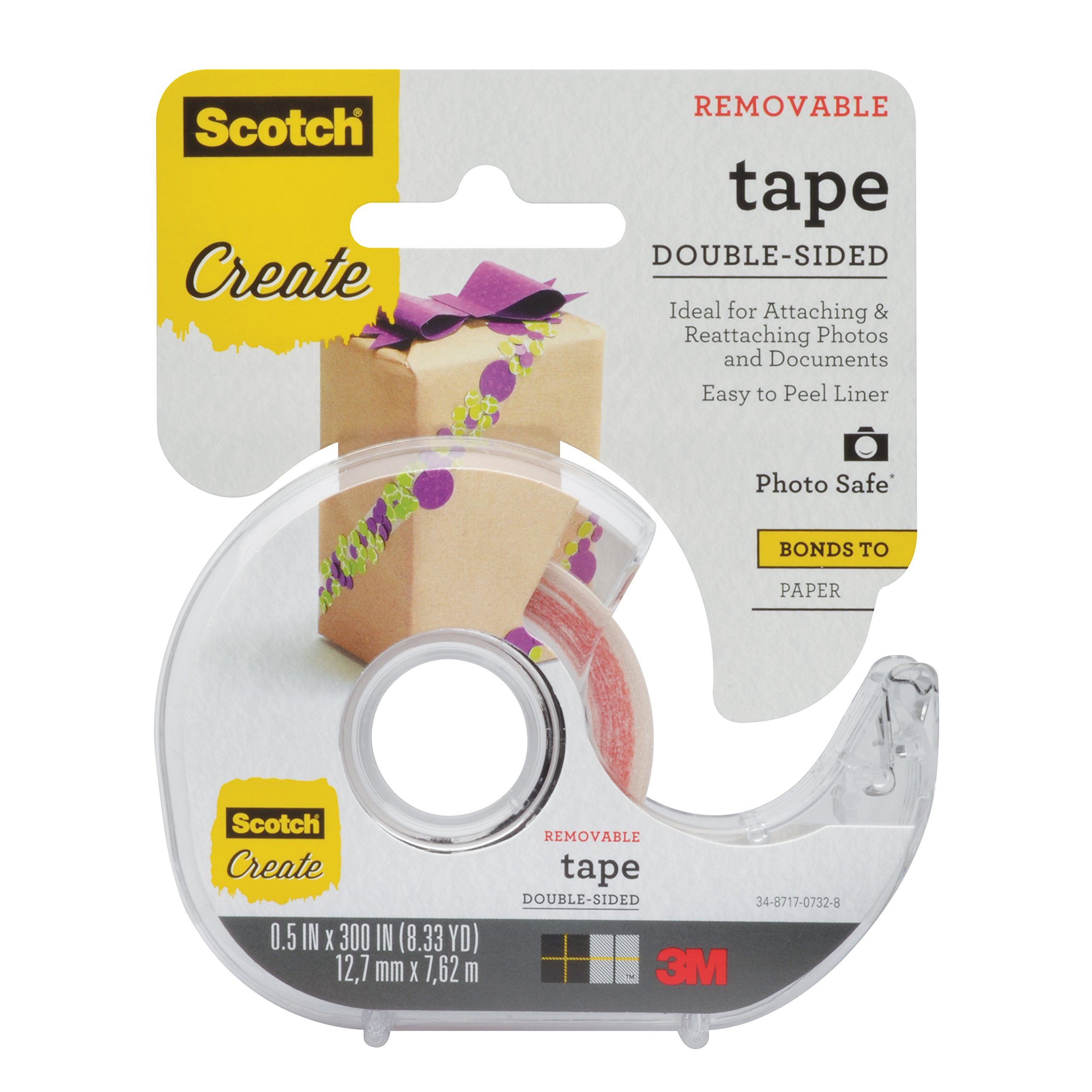 Scotch Create Double-Sided Removable Tape, Photo Safe and Acid Free, 1/2 in x 300 in, 4 Rolls per Pack (2002-CFT-4) by Scotch Brand