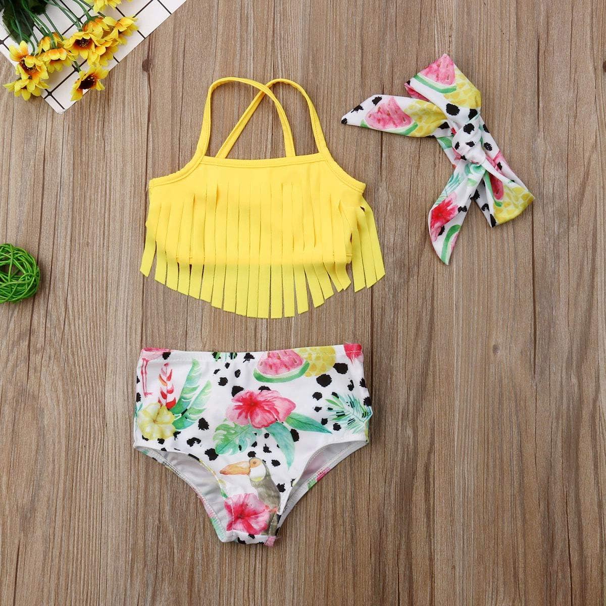 3PCS Newborn Baby Girl Bikini Set Tassel Sling Crop Top Watermelon Print Shorts+Headband/Swimsuit Bathing Suit
