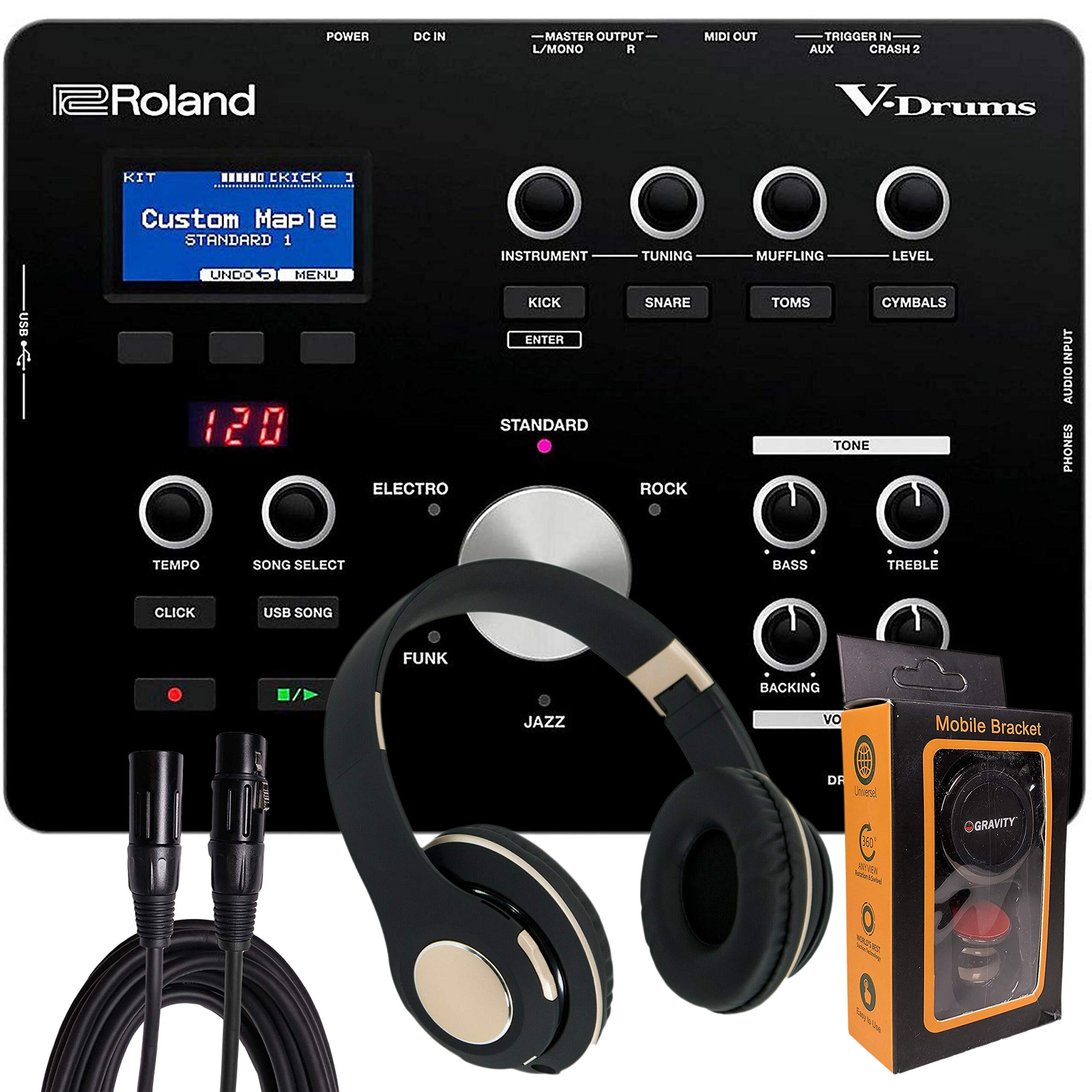 Roland Electronic Drum Modules, Black, Medium (TD-25) with Bluetooth Headphone, XLR Cable with Magnet Phone Holder Pack1 by Roland