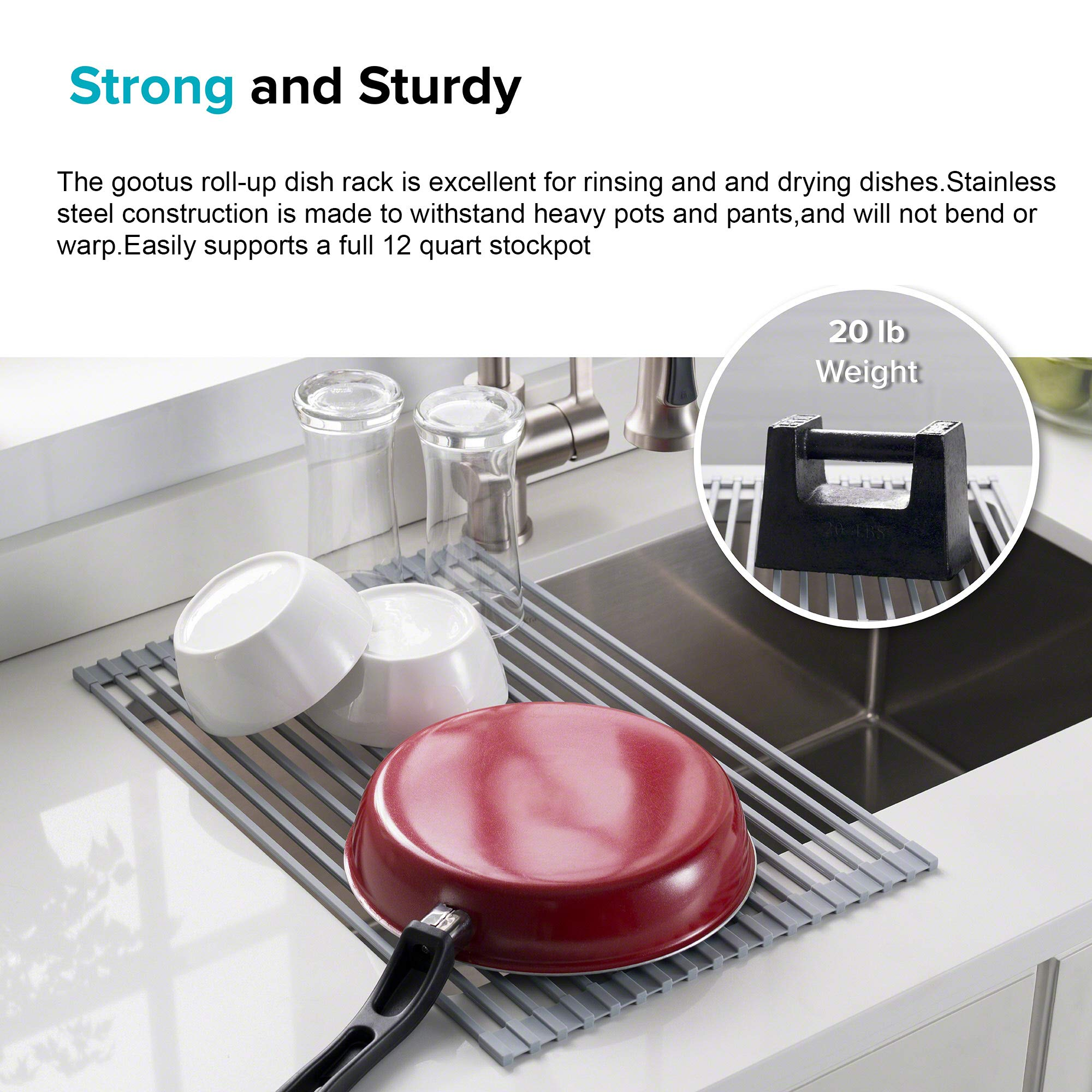 Kitchen Dish Drainer Rack Over The Sink Foldable -Roll-Up Expandable Stainless Steel Silicone Dish Drainer Rack Drying Vegetables\\Bowls\\Dishes and Fruit