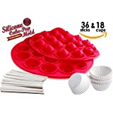 TheWorldMart Cake Pop Brownie Pop Cupcake Pop Truffle Pop Silicone Mold chocolate truffles mini cake pop round mold supplies 18 cavity lollipop with 36 sticks with 18 mini muffin paper cups wrappers