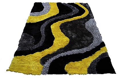 Amazon Com 8 X10 Yellow Black Grey Gray Charcoal 3d Shag Shaggy