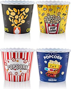 Modern Style Reusable Plastic Popcorn Containers / Popcorn Bowls Set for Movie Theater Night - Washable in the Dishwasher - (BPA Free-4 Pack- Each One 75 oz) (Color: Yellow, Brown, Red/White and Blue Popcorn Boxes)