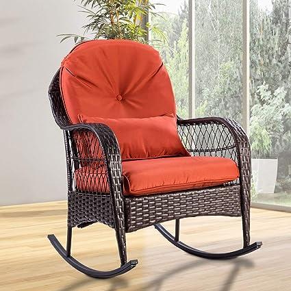 Tangkula Wicker Rocking Chair Outdoor Porch Garden Lawn Deck Wicker All Weather Steel Frame Rocker Patio Furniture W Cushion Red Cushion 27 Lx34 5