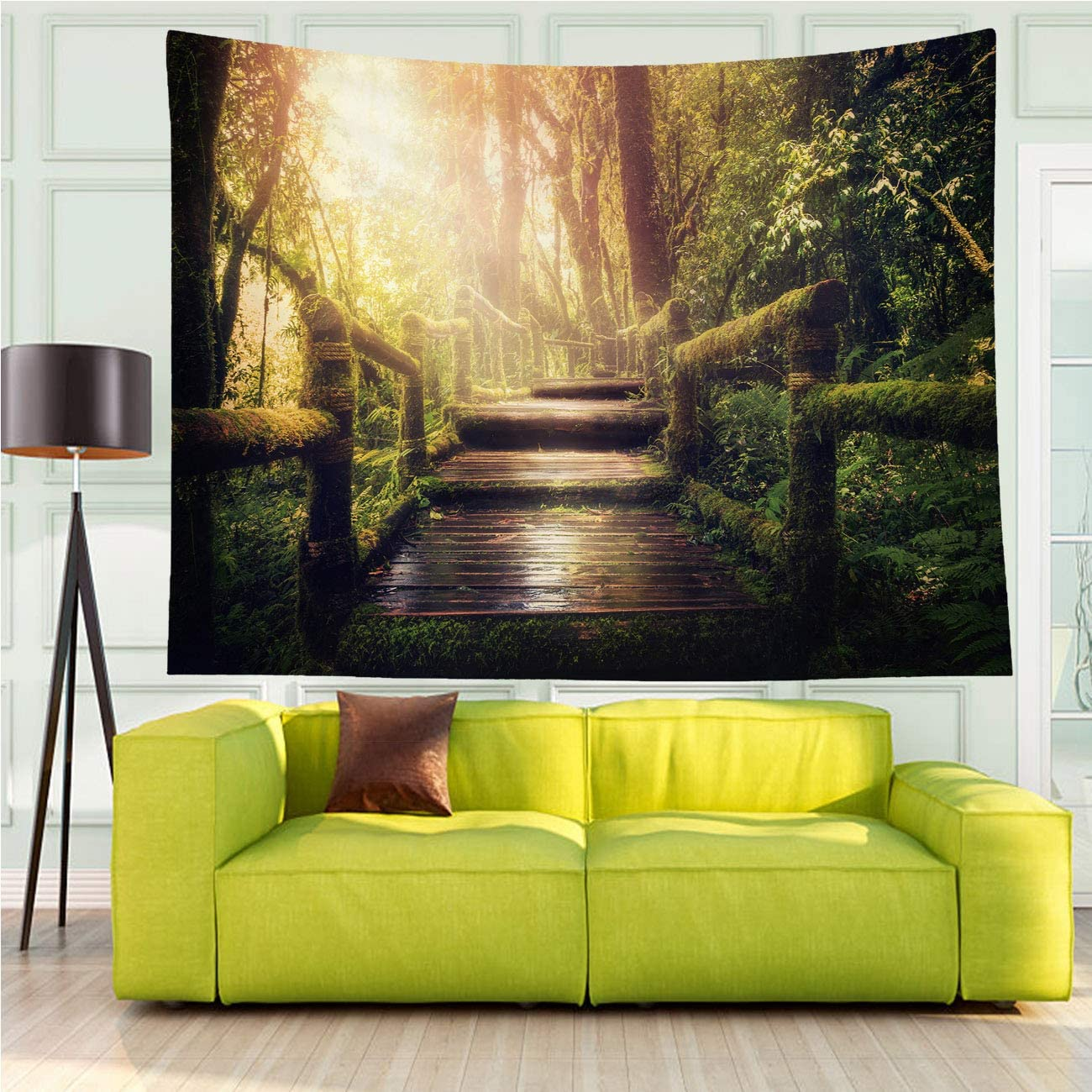 MinGz Rainforest Wall Tapestry Versatile,Jungle Trees Mystery Lighting Fairy Moss Forest Path Plank Rainforest Green,Tapestry for Living Room Bedroom Dorm Home Decor,70x50 in