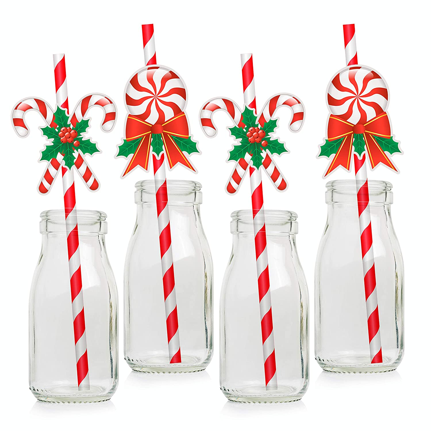 Candy Cane Paper Drinking Straws - Christmas Party Favors Decorations Supplies Winter Holiday - 24 PCS