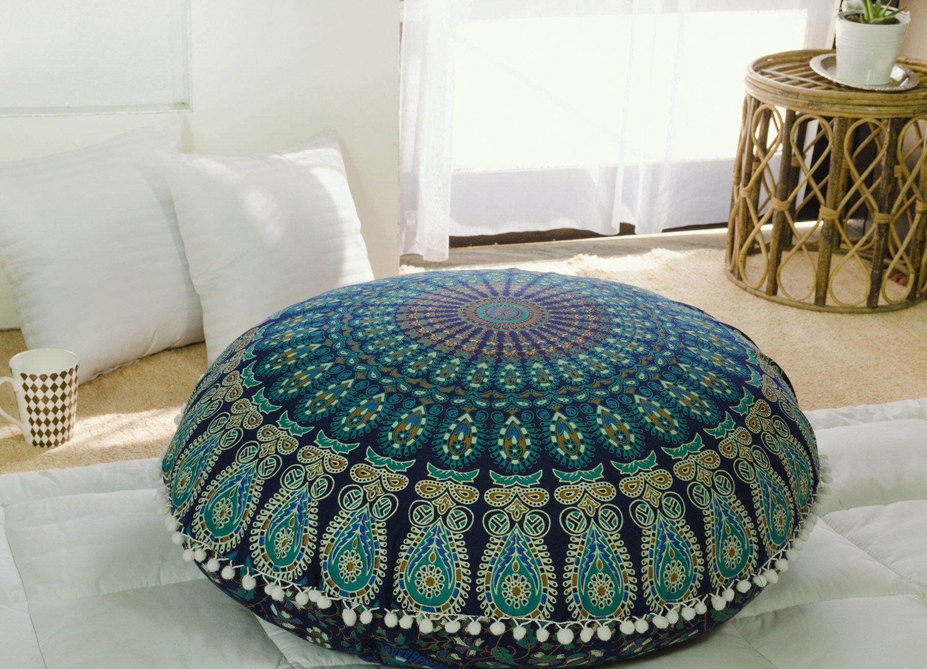 Popular Handicrafts Kp834 Large Hippie Mandala Floor Pillow - Cushion - Pouf Cover Round Bohemian Yoga Decor Floor Cushion Case- 32'' Blue Tarqouish