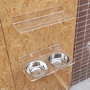 Dog Bowls Wall Mounted Elevated - New Upgraded Acrylic Wall Mounted Raised Dog Cat Bowl Holder Customized Height Pet Feeder with 2 Stainless Steel Dishes and Storage Shelf (15.7 in L)