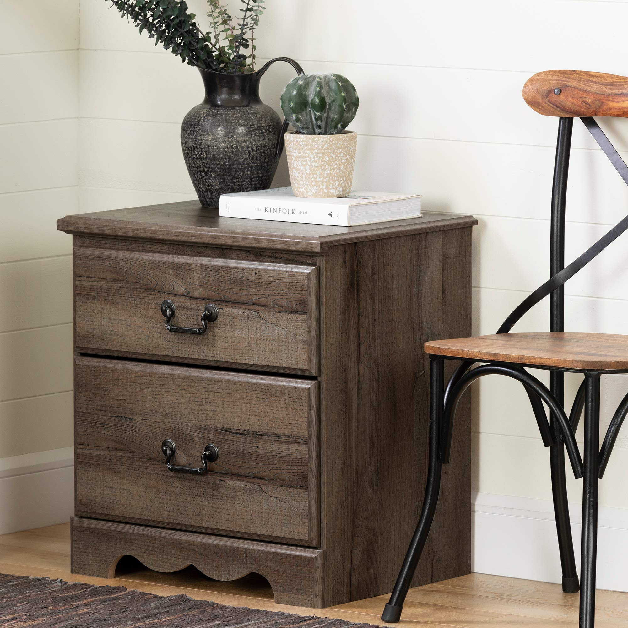 South Shore 11918 Prairie 2-Drawer Nightstand, Fall Oak by South Shore