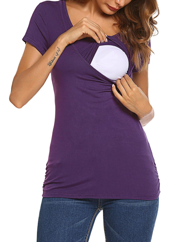 HOTOUCH Damen Schwanger T-Shirt Umstandsmode Stillshirt Umstandsshirt Mutterschaft Umstandstop mit Rundhalsausschnitt GMK005069