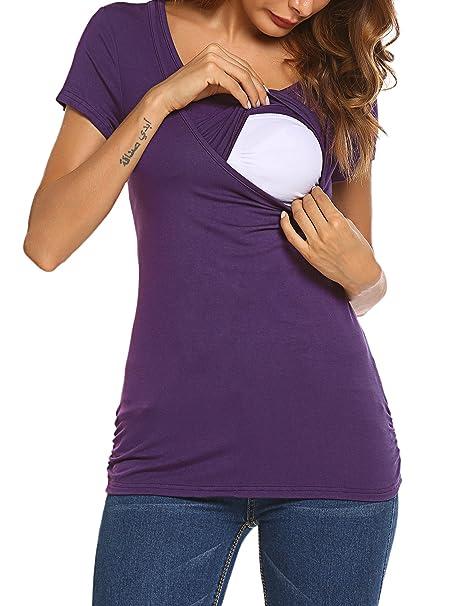 Hotouch - Camiseta de maternidad con escote redondo Neu-Lila L/XL