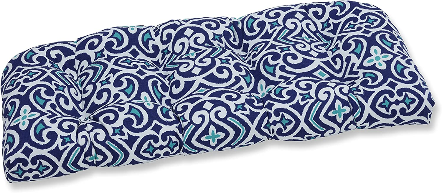 Pillow Perfect Outdoor | Indoor New Damask Marine Wicker Loveseat Cushion