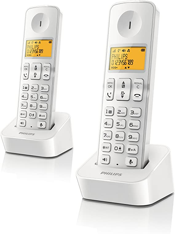 Philips D2102 - Teléfono dúo con manos libres, blanco: Amazon.es: Electrónica