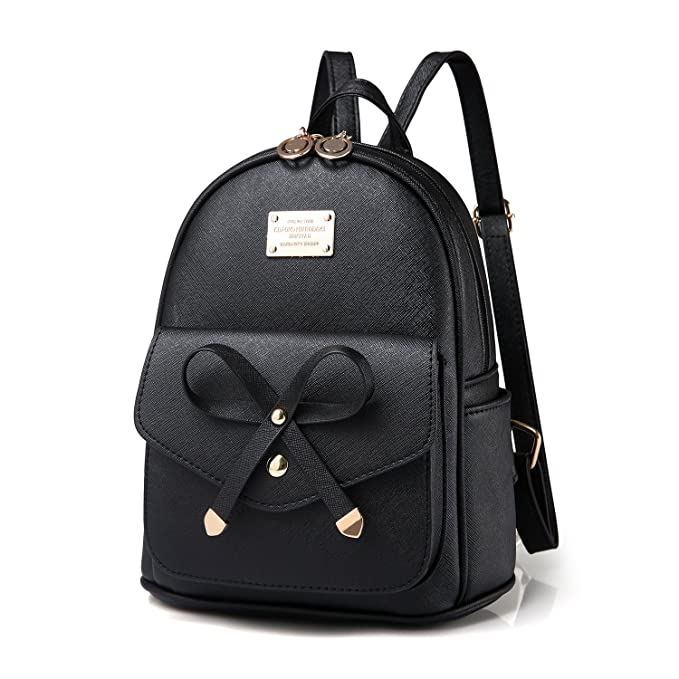 8a2a5d505022 Amazon.com  Girls Bowknot Cute Leather Backpack Mini Shoulder Bag Backpack  Purse for Women (Black)  Clothing