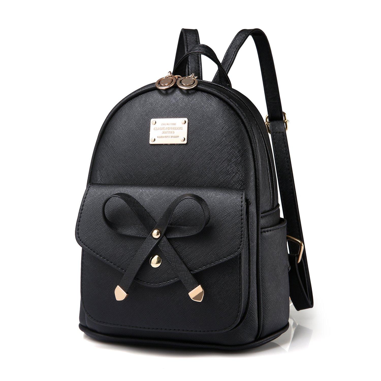Girls Bowknot Cute Leather Backpack Mini Shoulder Bag Backpack Purse for Women (Black)