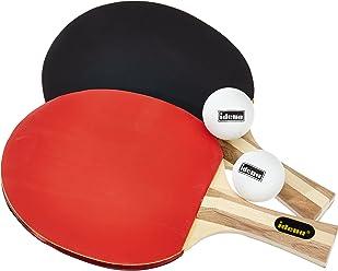 Idena 7429837 - Tischtennis Turnierset, 2 Schläger, 2 Bälle, Hülle, farblich sortiert