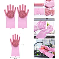 Alciono Magic Dishwashing Gloves with Scrubber, Silicone Cleaning Reusable Scrub Gloves for Wash Dish,Kitchen, Bathroom(1 Pair: Right + Left Hand) (Pink)