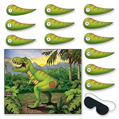 Beistle Pin The Tail On The Dinosaur Game, Multicolored: Toys & Games