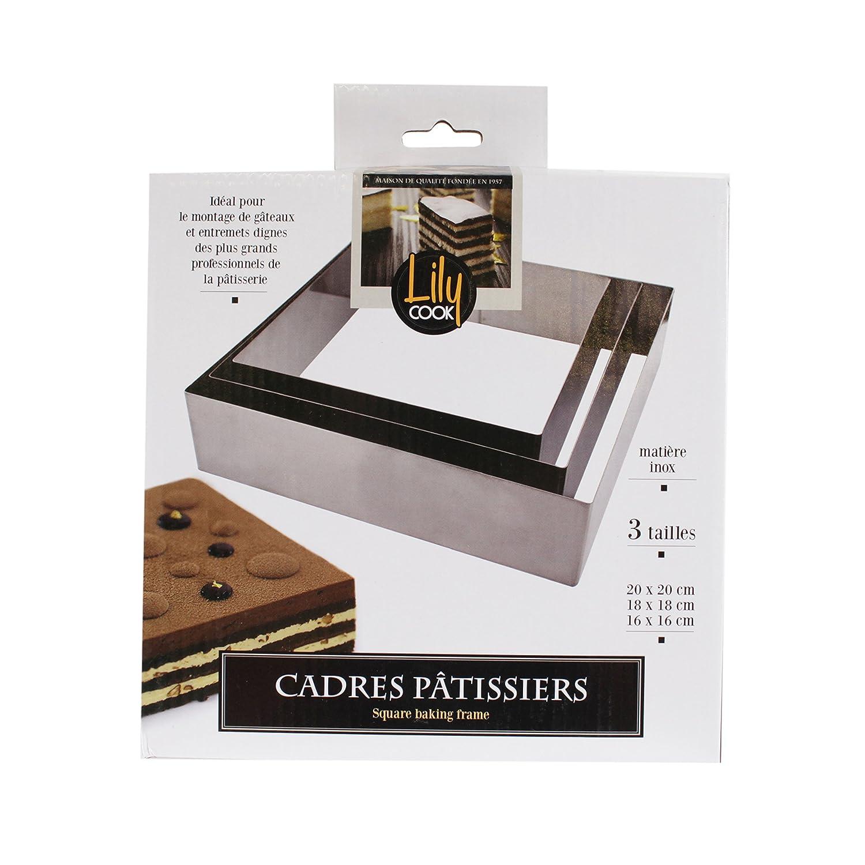 Lily Cook kp5351quadro pasticcere quadrato Acciaio Inox Argento 20x 20x 5, 10cm CMP Paris