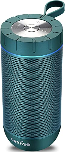 COMISO Waterproof Bluetooth Speakers Outdoor Wireless Portable Speaker with 20 Hours Playtime Superior Sound for Camping, Beach, Sports, Pool Party, Shower Malachite Green