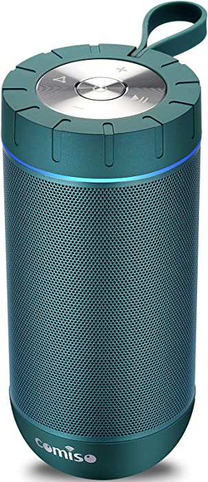 COMISO Waterproof Bluetooth Speakers Outdoor Wireless Portable Speaker with 20 Hours Playtime Superior Sound for Camping, Beach, Sports, Pool Party, Shower (Malachite Green)