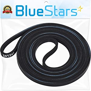 Ultra Durable 341241 Dryer Drum Belt Replacement Part by Blue Stars - Exact Fit for Whirlpool Kenmore Dryer - Replaces 26000341241 26000349533 31001026