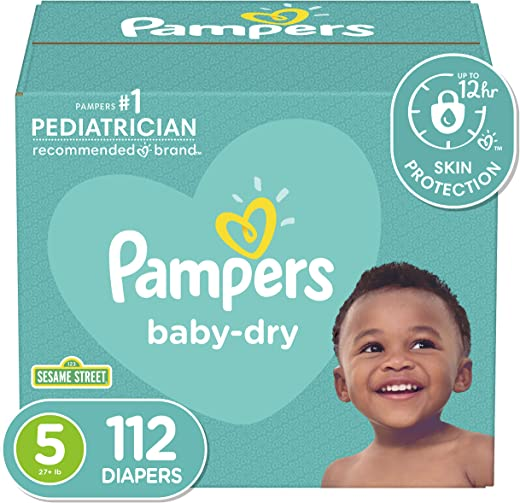 Diapers Size 5, 112 Count - Pampers Baby Dry Disposable Baby Diapers,...