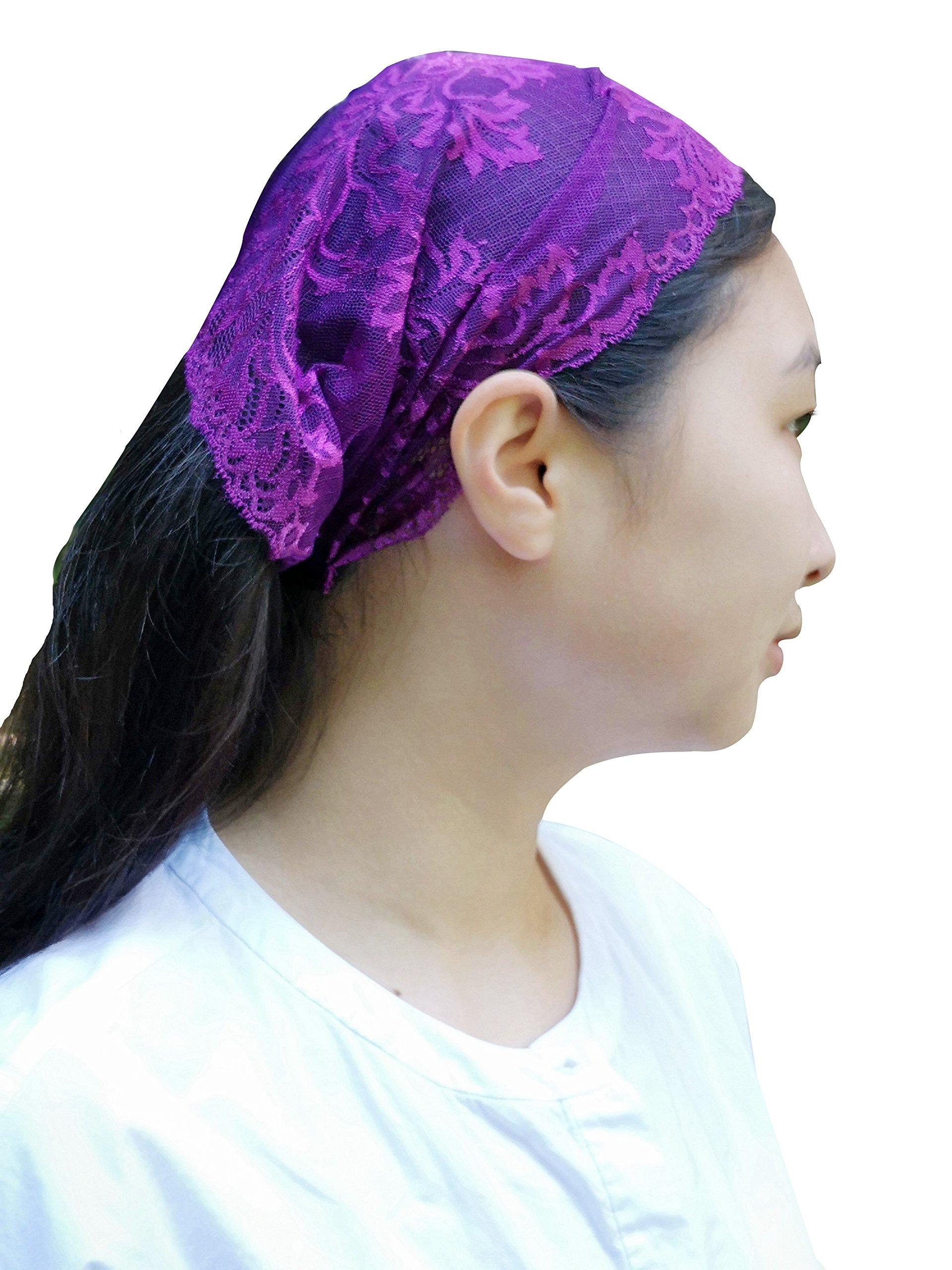 Church Veil Headwrap Lace Headband Kerchief Tie-style Head Covering Y031 (purple)