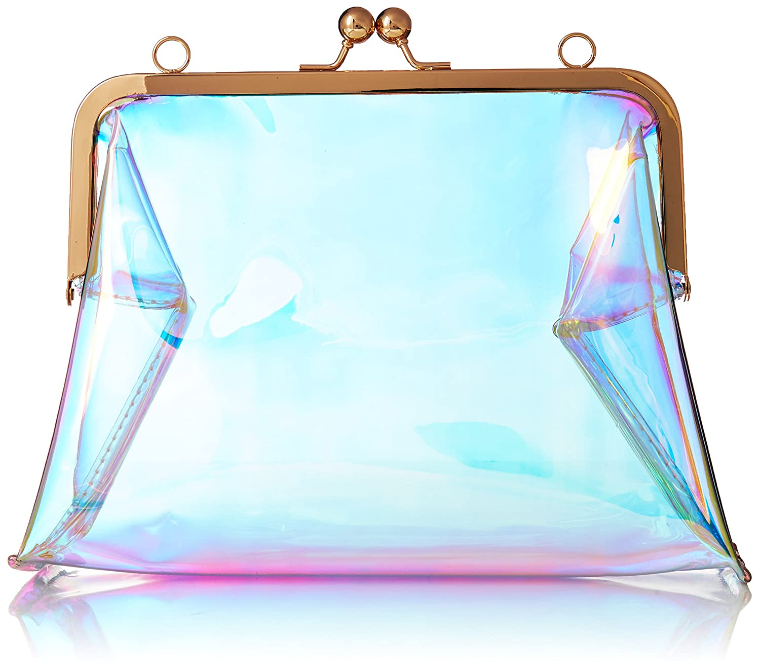 Hoxis Clear Transparent PVC Kiss Lock Chain Cross Body Bag Womens Clutch HX-BG-6040A