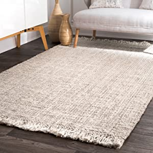 nuLOOM Natura Collection Chunky Loop Jute Rug, 4' x 6', Off-white