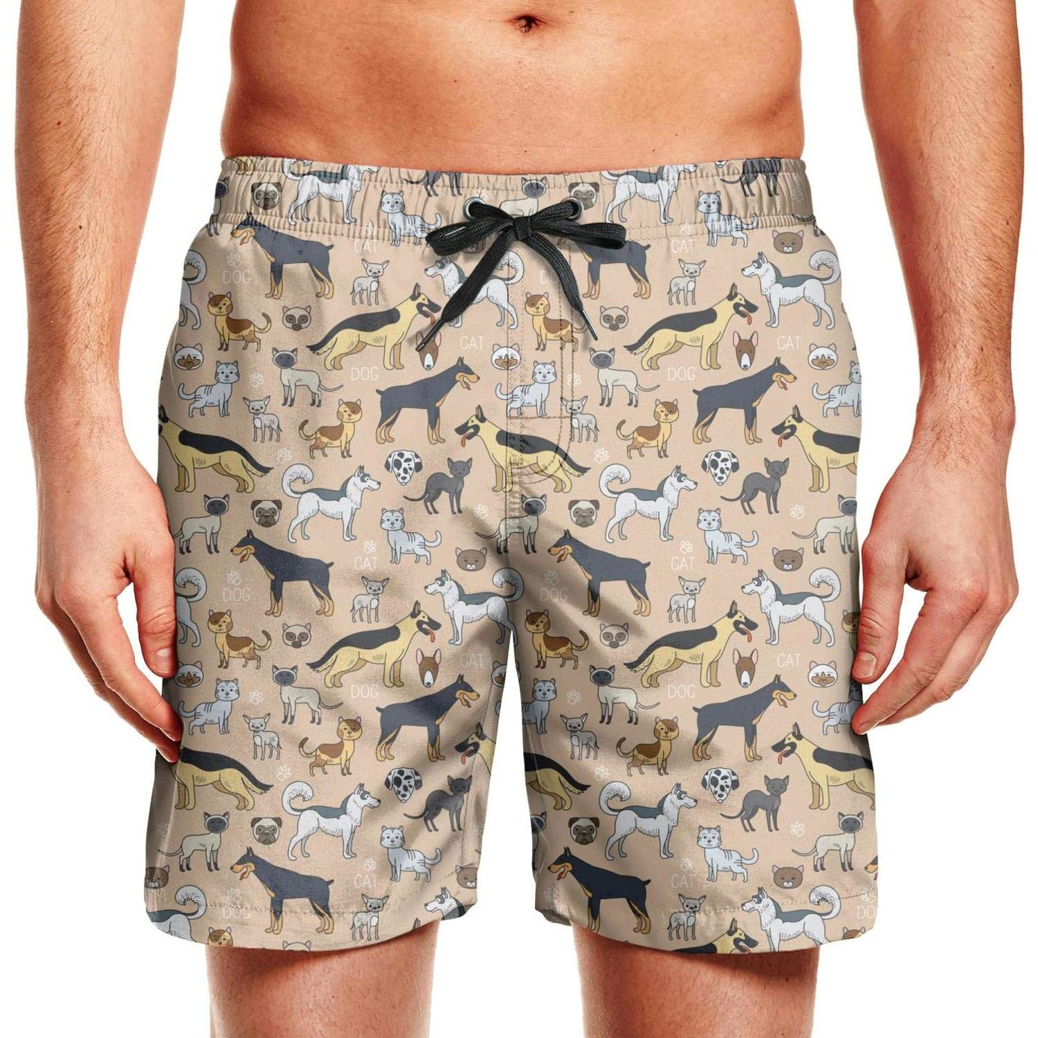 CCBING Cute Cats and Dogs Design Mens Novelty Swim Trunks Waterproof Surfing