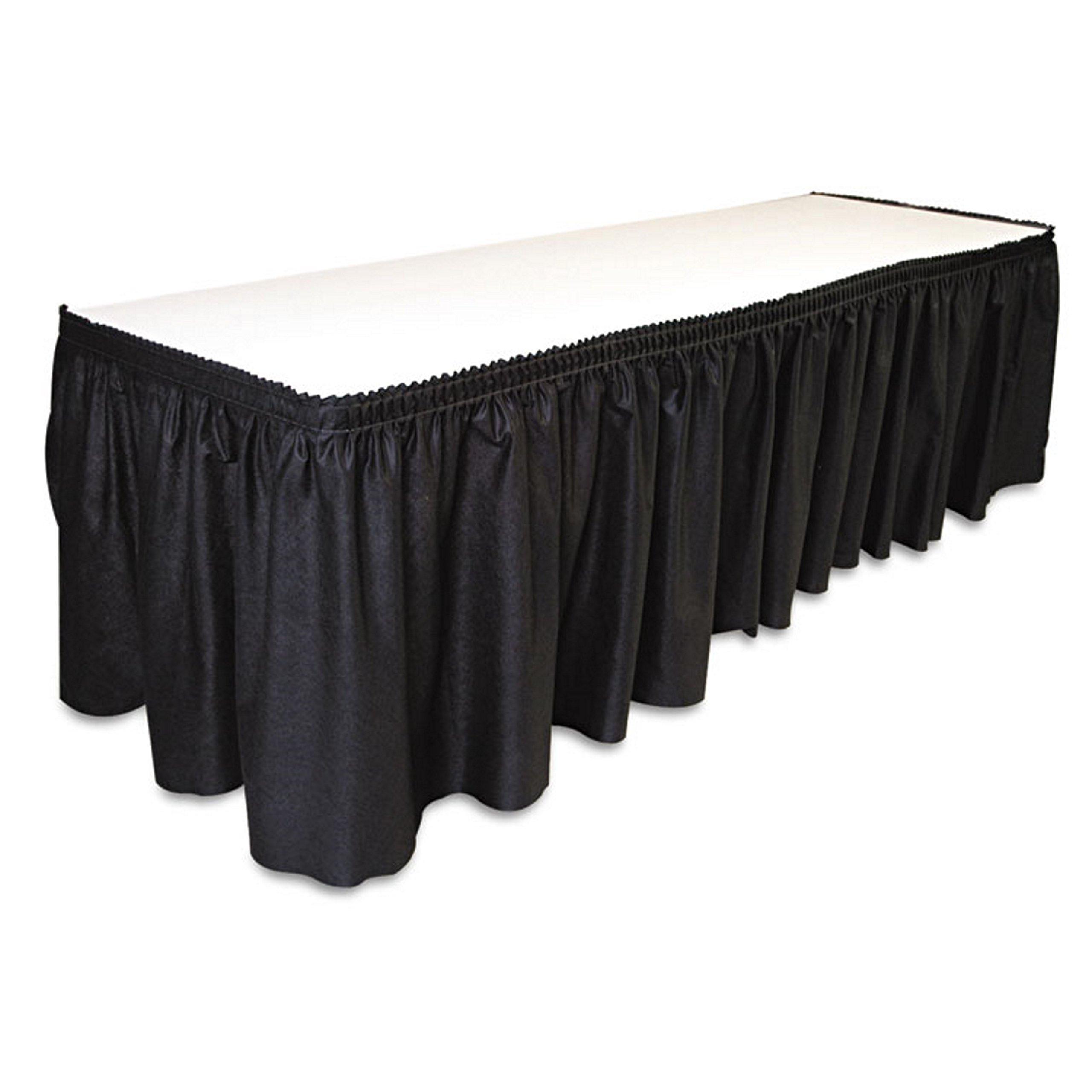 14' x 29''-Black Linen Like Soft Table Skirt Non Woven-Polyester/Nylon Blend - 1 case by Linen Soft