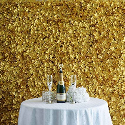 Balsacircle 4 Gold Artificial Hydrangea Flower Mat Wall Photography Backdrops Panels Wall Decor Wedding Party Decorations Supplies