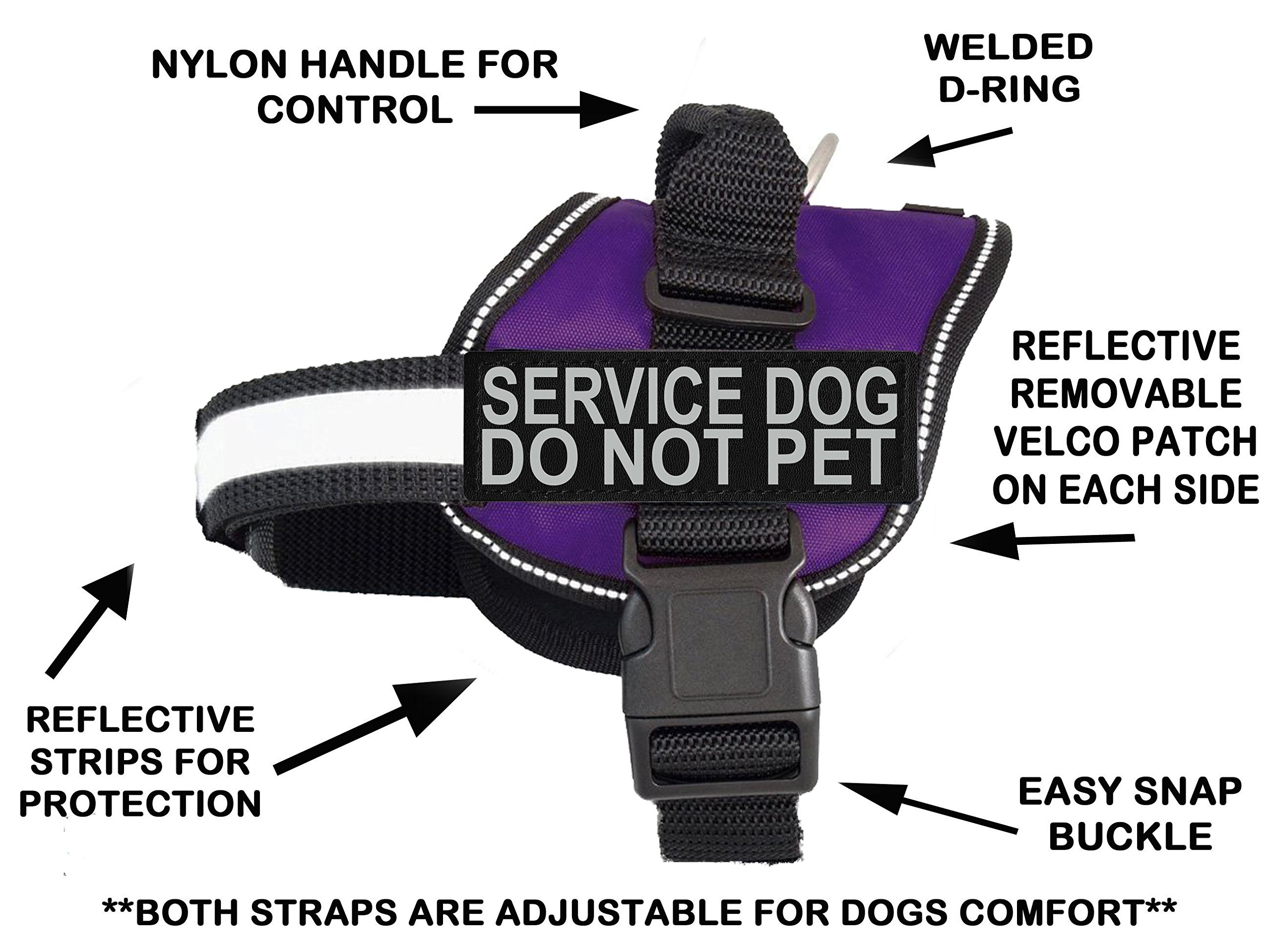 Doggie Stylz Service Dog Harness Vest Comes 2 Reflective Service Dog DO NOT PET Removable Patches. Please Measure Dog Before Ordering