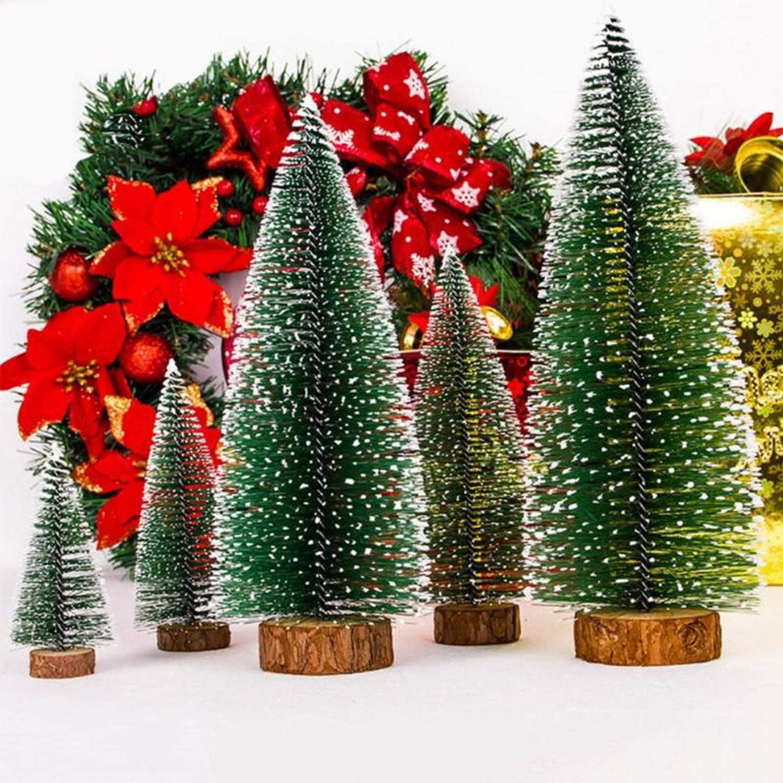5x Small Christmas Tree Fake Pine Tree Mini Sisal Bottle Brush Snow Frost Tree //