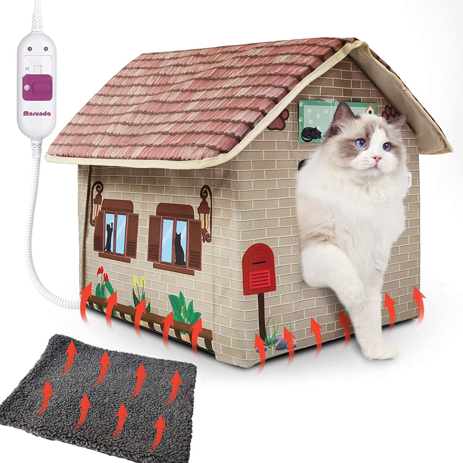 Marunda Heated Cat Houses For Indoor Or Outdoor Cats In Winter Waterproof And Insulated A Safe Pet House And Kitty Shelter For Your Cat Or Small Dog To Stay Warm