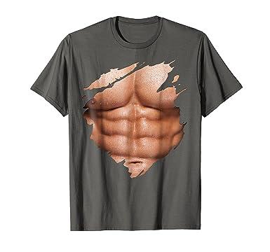 Amazon.com: Chest Six Pack Abs Muscles T-Shirt Torn Shirt BEACH BODY ...