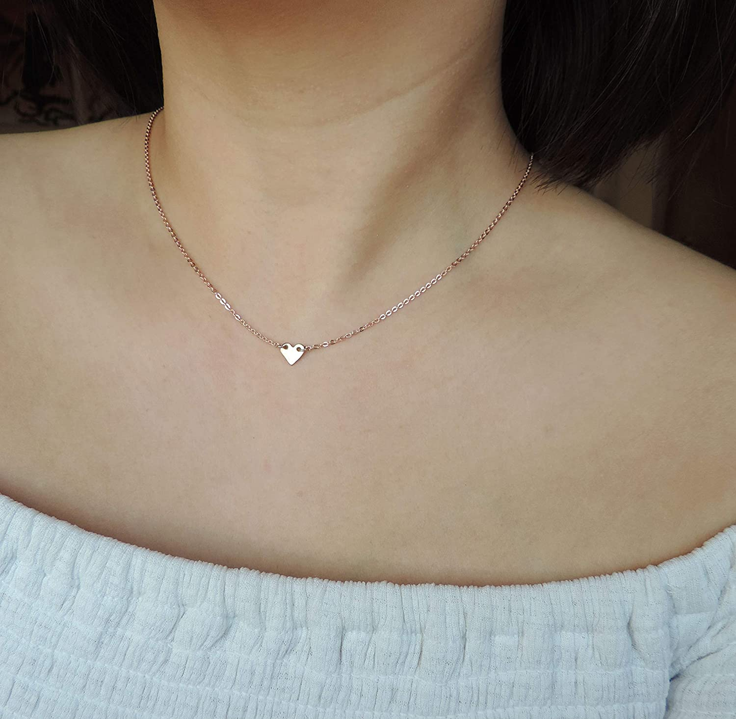 Small Necklaces Dainty Silver Heart Necklace Puff Heart Sterling Silver Necklace Silver Heart Necklace Delicate Charm Heart Jewellery