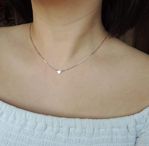 Mini Crystal Heart Charm Necklaces Gold Heart Pendant Necklaces Rose Gold Sterling Silver