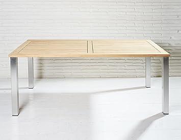Solide table de jardin 200 x 100 cm en teck FSC bois et ...
