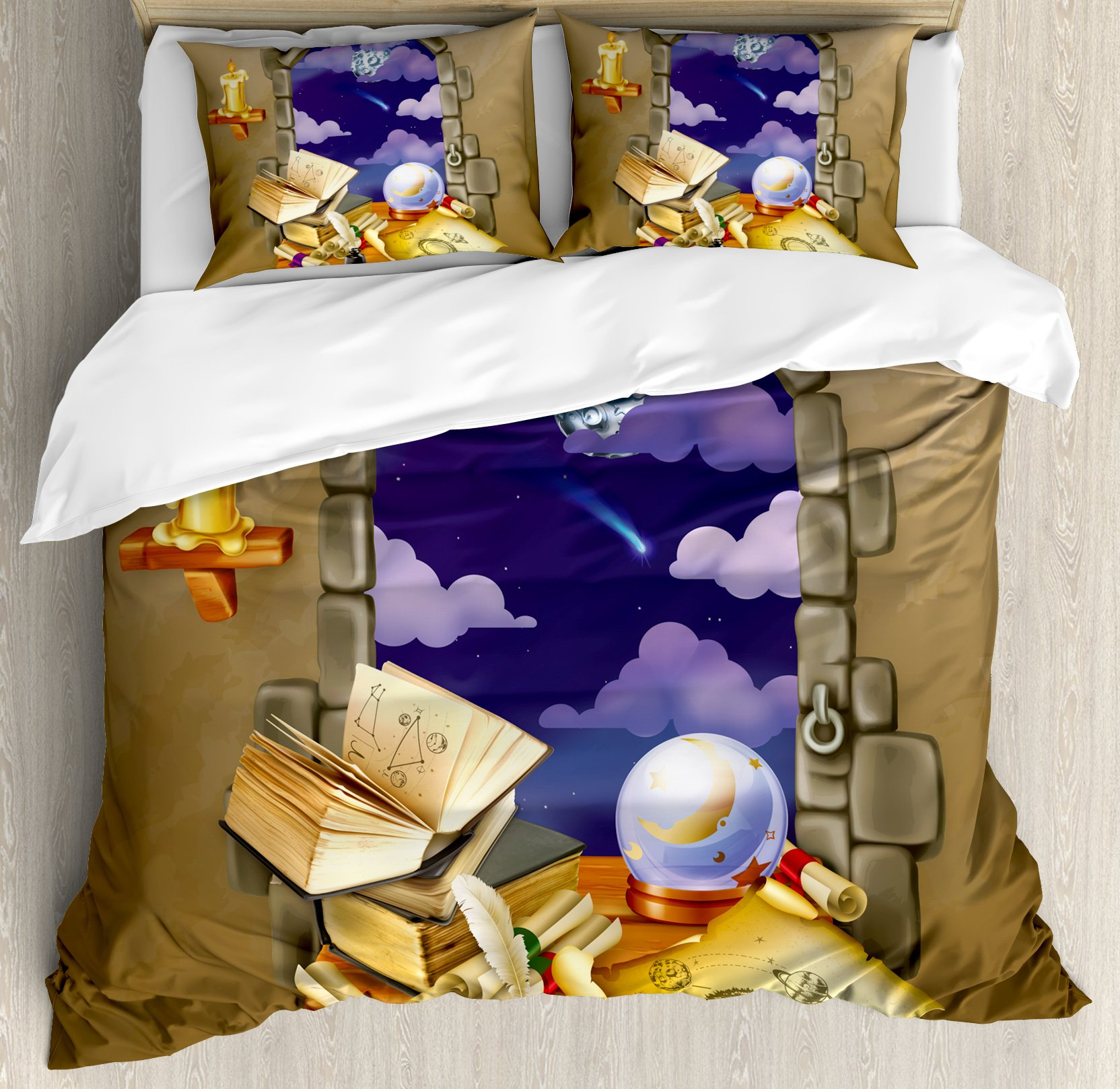 Astrology Duvet Cover Set King Size by Ambesonne, Medieval Ancient Castle Window with Crystal Ball Clouds Parchment, Decorative 3 Piece Bedding Set with 2 Pillow Shams, Teal Grey White and Purple
