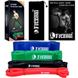 [2018 Upgraded] Fitzeal Pull Up Assistance Resistance Band wtih Free Carry Bag and Physical Workout Guide – Extra Durable Elastic Workout Home Bands G